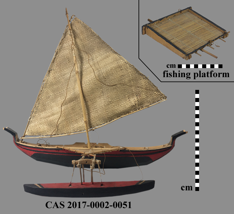 CAS 2017-0002-0051; Outrigger canoe model with sail